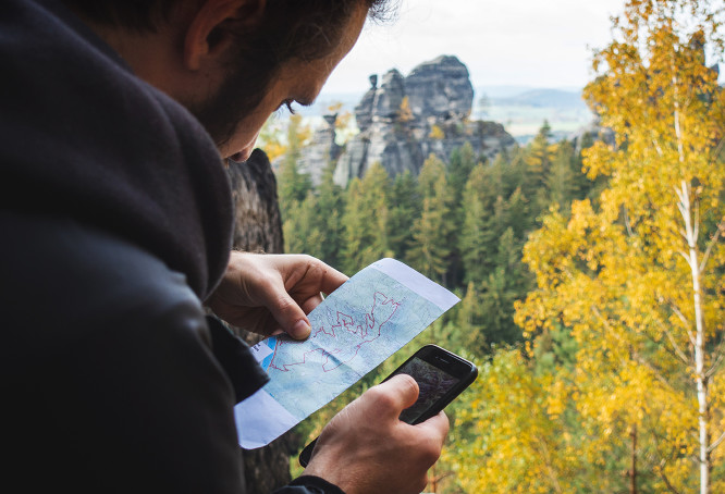 Man using camping app