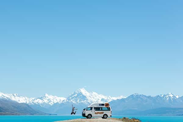 Lake Pukaki Campground with Travellers Autobarn Van