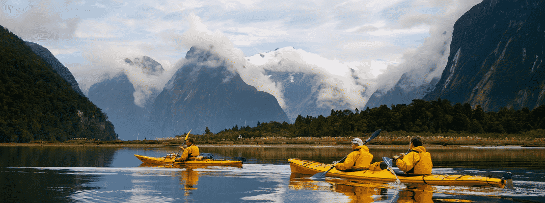 Kayaking at Milford Sound, New Zealand