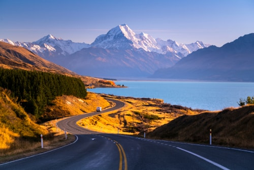 Lake Pukaki Road Mount Cook New Zealand