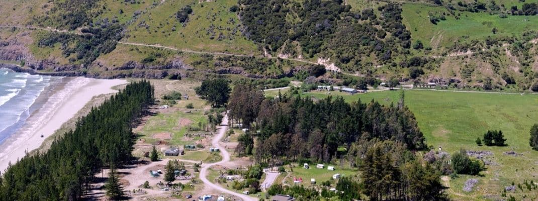 Aerial view of Okains Bay Campground