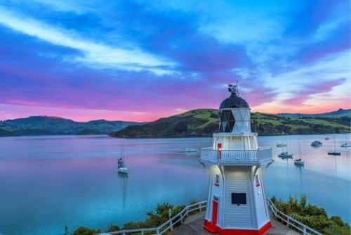 lighthouse in Akaroa at sunset
